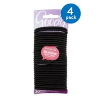 (4 Pack) Goody Ouchless No-Metal Black Elastics, 30-count