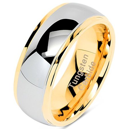 Tungsten Rings For Men Women Wedding Band Two Tones Gold Silver Engagement Size 6-16 With Half Sizes Available