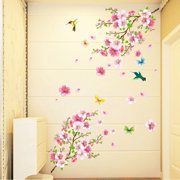 0631cff1c Mosunx Large Cherry Blossom Flower Butterfly Tree Wall Stickers Art Decal  Home Decor