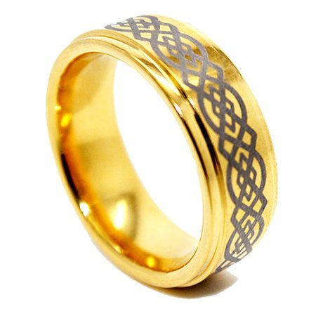 8mm Golden Colored Tungsten Wedding Ring with Celtic Knot Design (US Sizes 5-17)