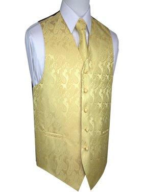 Men's Formal, Wedding, Prom, Tuxedo Vest, Tie & Hankie set in White Paisley