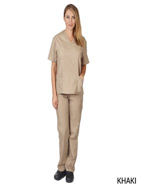 Natural Uniforms Unisex Solid V-Neck Medical Scrub Set, Style 101
