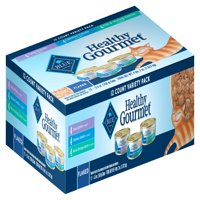 Blue Buffalo Healthy Gourmet Variety Pack Wet Cat Food, Flaked Tuna, Fish & Shrimp & Chicken Canned Cat Food, 5.5-oz can