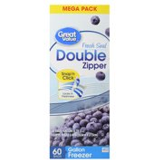 (2 pack) Great Value Double Zipper Freezer Bags, Mega Pack, Gallon, 60 Count
