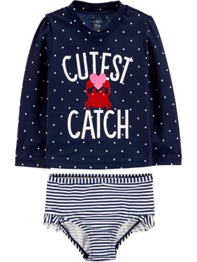 Long Sleeve Shirt and Shorts Rashguard, 2 piece swim set (Toddler Girls)