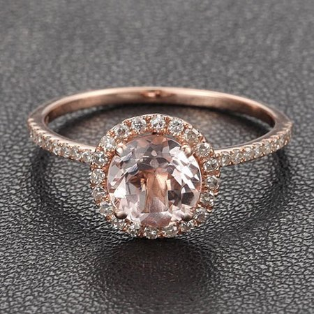 Antique 1.25 carat Morganite and Diamond Halo Engagement Ring in 10k Rose Gold for Women Antique White Gold Ring