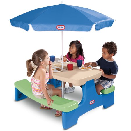 Little Tikes Easy Store Picnic Table with Umbrella - Kids Stores Online