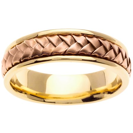 14K Two Tone Gold Basket Braid Handmade Comfort Fit Women's Wedding Band (7mm) ()