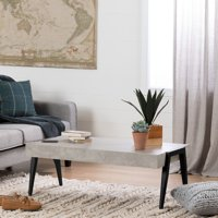 South Shore City Life Concrete Gray and Black Coffee Table
