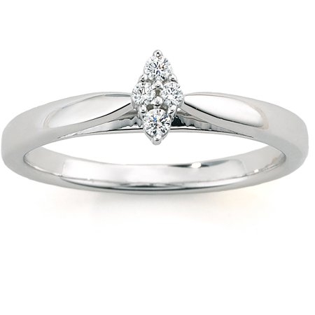 Diamond Accent Cluster Marquise-Shaped Engagement Ring