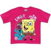 Personalized SpongeBob SquarePants Wink Toddler Girl Hot Pink T Shirt