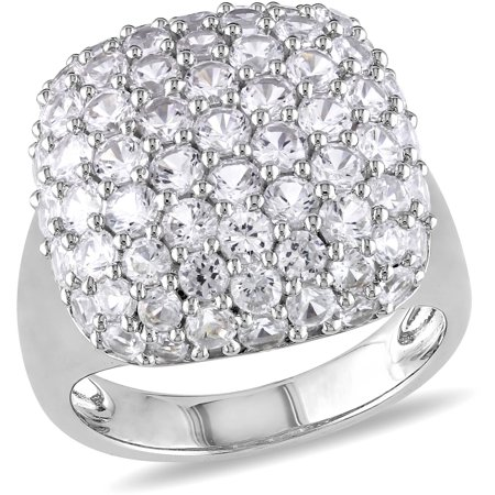 - 4-3/4 Carat T.G.W. Created White Sapphire Cluster Ring in Sterling Silver