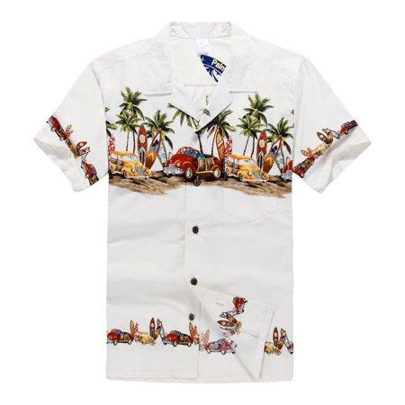 Hawaiian Shirt Aloha Shirt in Off White Vintage Cars and Surf Boards - Kids Hawaiian Shirts