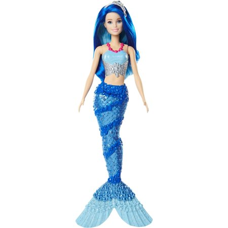 - Barbie Dreamtopia Mermaid Doll with Blue Jewel-Themed Tail