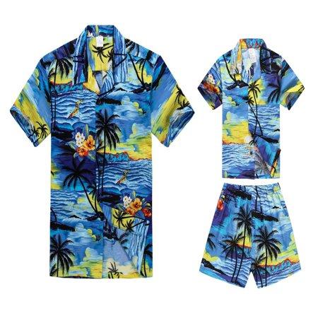 Matching Father Son Hawaiian Luau Outfit Men Shirt Boy Shirt Shorts PW Blue Sunset XL-8](Luau Menu)
