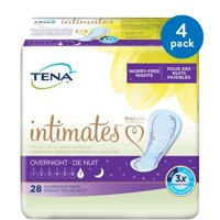 (4 Pack) Tena Incontinence Pads For Women, Overnight, 28 Count