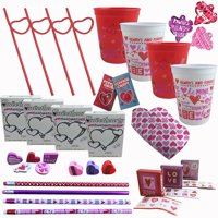 Valentines Day Party Pre-Filled Favor Gift Cups For Kids Classroom Exchange - (Set of 4), (4) Pre-Filled Valentine's Day Favor Treat Cups wrapped in.., By Combined Brands
