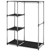 Whitmor Spacemaker Garment Rack & Shelves Chrome & Black