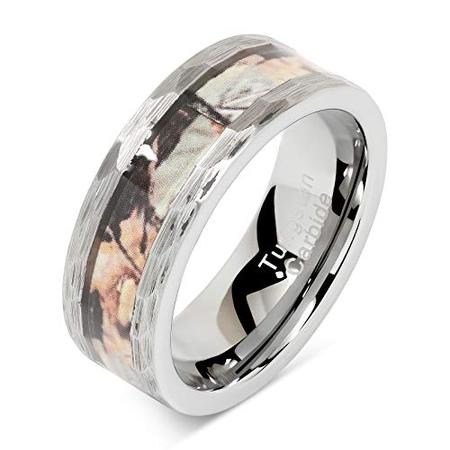 Tungsten Rings for Men Wedding Band Hunting Camo Inlaid Hammered Edge Size - Camo Wedding Accessories