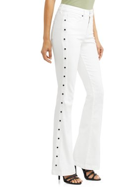 Gloria Studded Sides High Waist Stretch Flare Jean Women's (White)