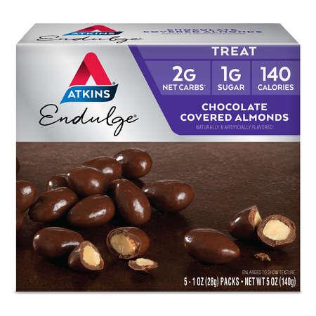 Atkins Endulge Chocolate Covered Almonds, 1.0oz, 5-pack (Treat)
