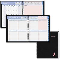 At A Glance AAG76PN0105 Quick Notes Breast Cancer Awareness Weekly & Monthly Planner, Simulated Leather - Black