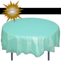 """Exquisite 12 Pack 84"""" Round Tablecloth Covers Bulk - White Disposable Plastic Tablecloths - Heavy Duty Premium Plastic Disposable Table Cloths Round"""