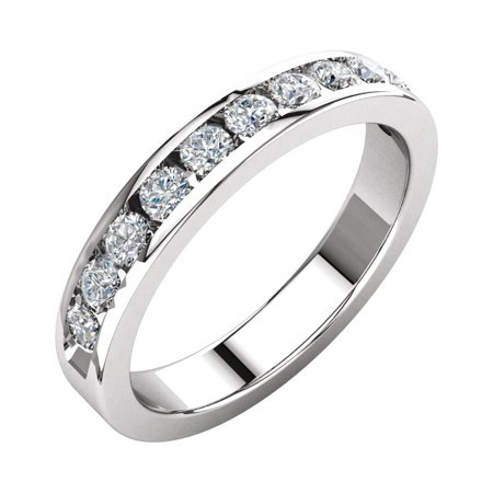 Jewels By Lux Platinum Diamond Polished 1/2 Ctw Diamond Anniversary Wedding Ring Band Size 6 Diamond Ring : Platinum Diamond Band