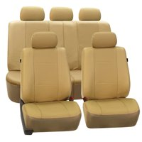 FH Group Beige Deluxe Faux Leather Airbag Compatible and Split Bench Car Seat Covers, Full Set