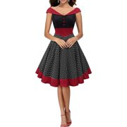 13879650fd1 2018 Vintage Women Dress Dot Retro Swing Pinup 50s 60s Christmas Party  Evening Housewife Fashion Red