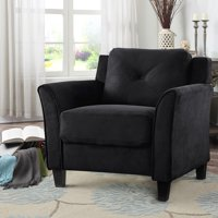 Lifestyle Solutions Taryn Curved-Arm Chair in Black Fabric