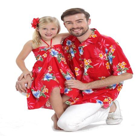 Matching Father Daughter Hawaiian Luau Cruise Outfit Shirt Dress Hibiscus Red Men 2XL Girl 14