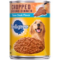 (12 Pack) PEDIGREE Chopped Ground Dinner Canned Wet Dog Food T-bone Steak Flavor, 13.2 oz. Can