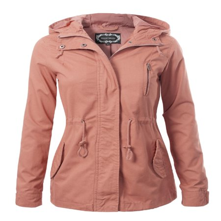 Fashion Leather Jacket (Made by Olivia Women's Military Anorak Safari Hoodie Jacket Mauve 2XL )
