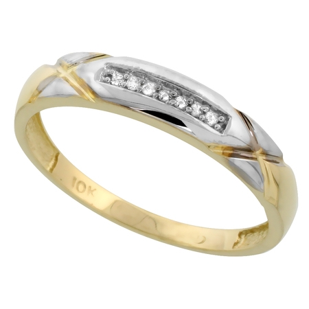 10k Yellow Gold Mens Diamond Wedding Band Ring 0.04 cttw Brilliant Cut, 3/16 inch 4mm wide (4 Mm Wide Ring)
