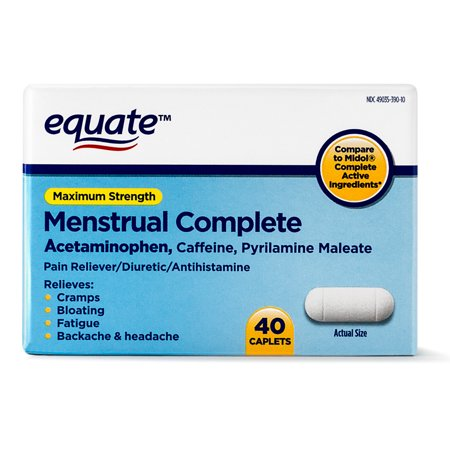 Equate Maximum Strength Menstrual Complete Caplets, 40 Count