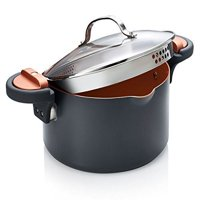 Gotham Steel Pasta Pot with Patented Built in Strainer with Twist N' Lock Handles, Nonstick Ti-Cerama Copper Coating by Chef Daniel Green, 5 Quart