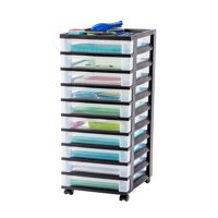 IRIS 10-Drawer Rolling Storage Cart with Organizer Top, Black