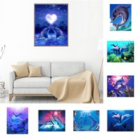 Girl12Queen Lovely Dolphin 5D DIY Diamond Embroidery Wall Painting Cross Stitch Kit Decor