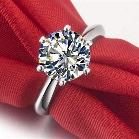 - ON SALE - Genevieve 3CT Round Cut IOBI Simulated Diamond Solitaire Ring 8.5