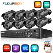 FLOUREON HD1080N Security Camera System for Home Surveillance with 8 3000TVL HD1080P Camera and 8CH DVR Kit(Night Vison, Weatherproof IP66) for Home Surveillance