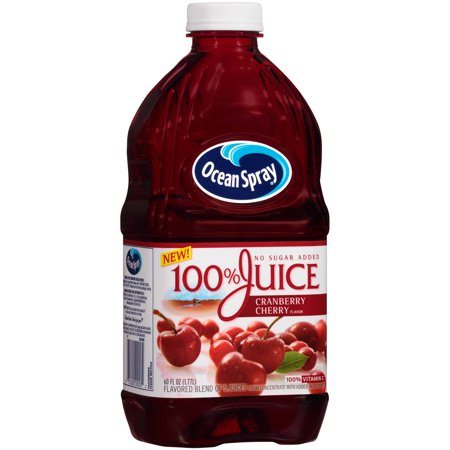 (2 pack) Ocean Spray 100% Juice, Cranberry Cherry, 60 Fl Oz, 1 Count