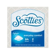 Scotties Everyday Comfort 2-ply Unscented, Hypoallergenic Facial Tissues, 1 Cube Box, 64 Tissues per Box