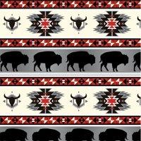"David Textiles Anti-Pill Fleece Buffalo Tribal Red/Grey Fabric By The Yard 60"""