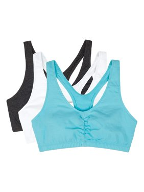 Womens Shirred Front Tank Racerback Sports Bra, Style FT170, 3-Pack
