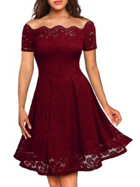 MIUSOL Women's Floral Lace Cold Shoulder Evening Party Summer Dress with Short Sleeve