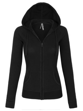 KOGMO Womens Solid Casual Basic Thermal Zip Up Hoodie Jacket