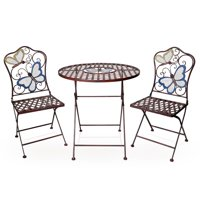 Alpine Butterfly Outdoor Patio Bistro Set Metal 3-Piece Set