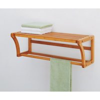 Neu Home Lohas Collection Mounting Shelf with Towel Bar, Carbonized Bamboo