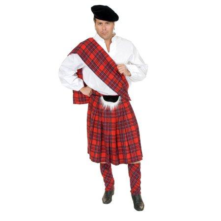 Halloween Scottish Red Kilt Adult Costume